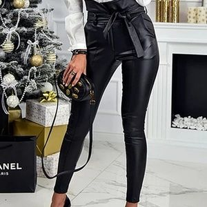 Faux High waist pencil pants